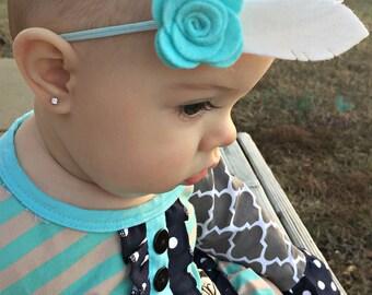 Flower Feather Headband - Felt Headband - Boho Headband - Feather Headband - Flower Headband - Felt Baby Headband - Aqua White Headband