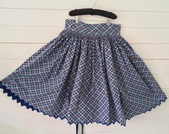 Blue Checked Cotton Polka Dot Circle Skirt Vintage Hungarian Folk Hand Sewn Scalloped Hem Open Threadwork Hand Stitching Summer Festival
