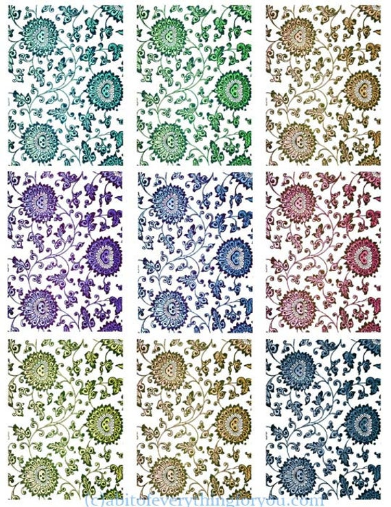 floral flower patterns clip art digital downloadable collage sheet 2.5 x 3.5 inch graphics images craft printables jewelry cards tags diy