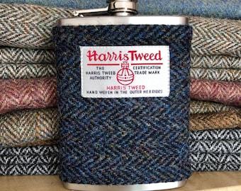 Navy Blue Herringbone Harris Tweed Hip Flask