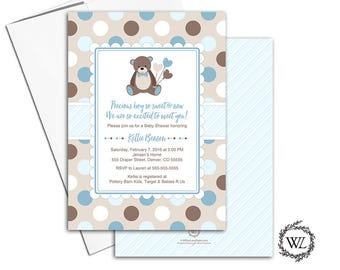 Teddy bear baby shower invitation for boys baby shower invites, polka dots, blue brown beige, printed or printable invitations - WLP00758