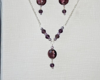 purple foil glass and faux pearls necklace and earring set