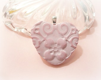 Pink Heart Flower Pendant, Flower Girl Wedding Bouquet Charm, Pink Jewelry, Spring Jewelry, polymer clay