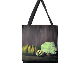 Autumn Thanksgiving Tote Bag Large, Pumpkin and Gourds, Shopping bag Autumn Purse Fall art Weekender Bag