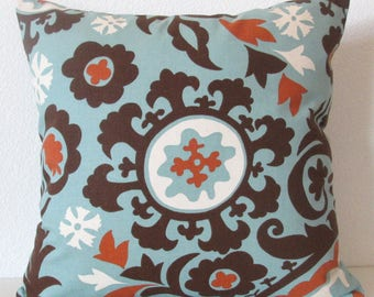 Throw pillow cover - Teal blue - Rust - Suzani - 18x18 - ikat throw pillow case