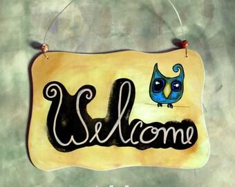 Welcome sign owl,funny door decor,warm yellow front door owl art