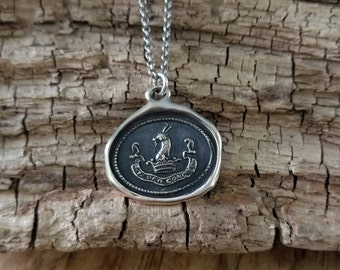 Bronze In God I Trust - In Deo Confide - Latin Antique Wax Seal Necklace - 240