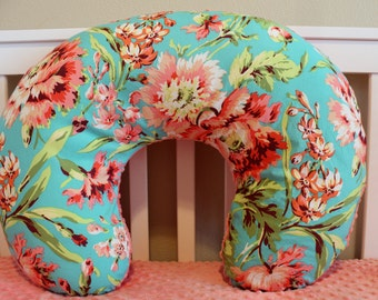 Bliss Bouquet Boppy Cover - Nursing Pillow Cover in Amy Butler Love fabric Coral and Teal Floral for Modern Baby Girl