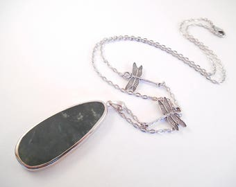 Green Agate Necklace - Long Dark Moss Green Agate Slab Dragonfly Necklace