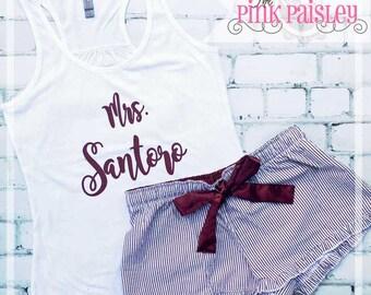 Lingerie Shower Gift   Bridal Shower Gift   Bride To Be Gift   Honeymoon Pajamas   Monogrammed PJs