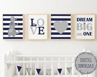 Elephant nursery, Dream big little one, baby boy nursery printable, navy blue grey nursery wall decor, Set of 4 prints, elephant wall art
