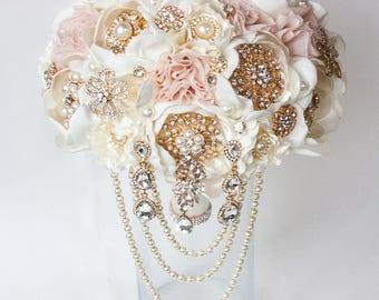 Brooch Bouquet. Ivory blush pink peony Fabric Bouquet, Unique Wedding Bridal Bouquet