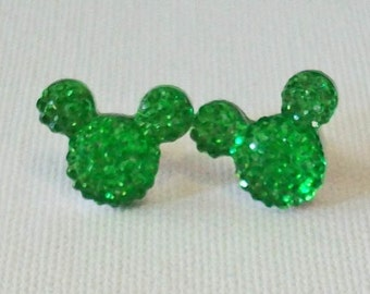 Small Bright Green Textured Rhinestone Minnie Mouse Inspired Pierced Stud Earrings