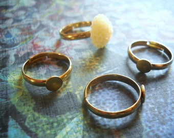 Ring Blanks Ring Bases Blank Rings Gold Ring Blank Brass Ring Blanks Adjustable Rings Blank Ring Base Adjustable Ring Base 8 pieces