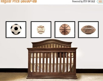 FLASH SALE til MIDNIGHT Vintage Football, Baseball, Soccer and Basektball Set of Four on White Photo Prints,Vintage Sports Nursery, Boys Roo