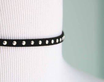 Thin Black Suede with Silver Dots Choker Necklace