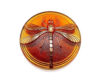 1pc Czech Hand Made Art Glass Button Dragonfly Round  40,5mm Topaz (15070 gold)