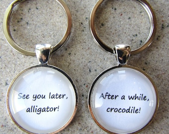 See You Later Alligator Keychain Set, After A While Crocodile Keychain, farewell gift, goodbye gift, see you later, later gator, handmade