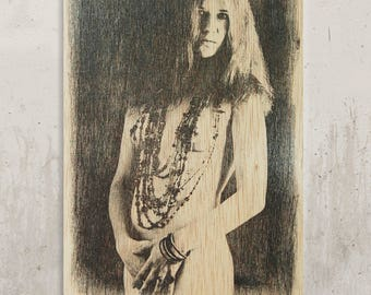 Janis Joplin-Janis Nude//Transfer on wood