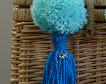 Mint and Blue Pom Pom & Tassel Clip-on with Fish Charm -  Keychain, Beach Bag or Backpack Flair Clip