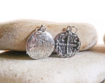 Byzantine Solid Sterling Silver Pendant, Byzantine Coin Necklace Pendant