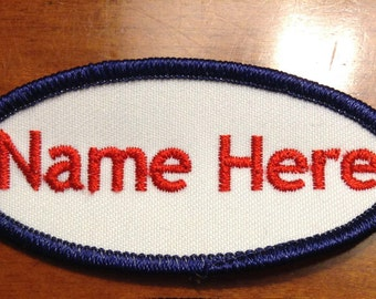 Custom (Personalized) Embroidered Name Tag Patch Oval 3.25