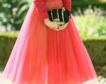 Tea Length Coral Tulle Skirt/ Quality Tulle Skirt/ Mid Calf Coral Tulle