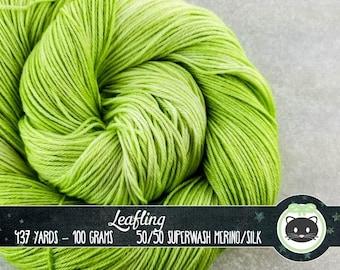 Bright Green Hand Dyed Yarn, Sock Yarn, Merino Wool Yarn, Sock yarn, Fingering Yarn, Tonal Yarn, Silk Yarn, SWM, Heirloom Luxe, Leafling