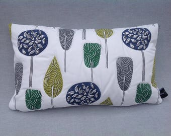 Scandinavian style cushion cover.  Quilted. Emerald and blue cushion cover. Pillow slip. Mother's day gift. Tree design. UK handmade