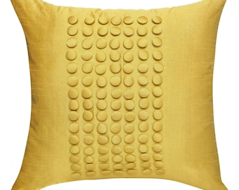 Yellow Pillow Cover, Minimalist Pillow, Yellow Throw Pillow Cover, Button Panel
