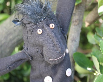 Black crested Macaque Sock Monkey doll - OOAK Handstitched
