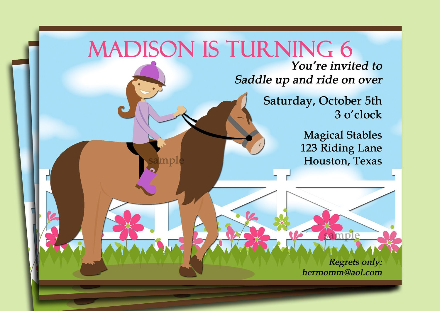Horse Riding Invitation Printable or Printed with FREE