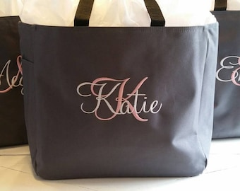 9 Bridesmaid Gift, Personalized Tote Bag, Wedding Party