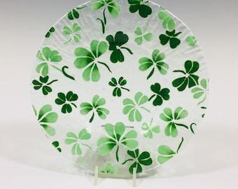 Shamrock Plate, Shamrock Lunch Plate, Salad Dish, St. Patricks Day Dish, Irish, Dessert Plate, Celtic Decor