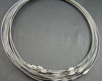 6pcs Silver Wire Cord Necklace With Screw Clasp ST211