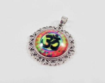 BZ10 - Charm pendant Cabochon glass third eye Chakra Yoga Meditation Om Zen Ohm symbol