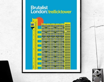 Brutalist London: Trellick Tower Sunset. Prints of London, Illustrated poster - Matte and Giclee Art Prints in A3 or A2 sizes. Wall Art.