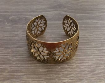 "Gold Cuff, Wide Cuff, Cutout Wide Cuff, Gold Statement Cuff, 1 1/8"", 1 pc"