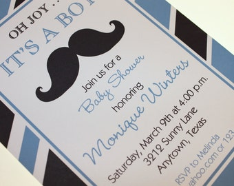 Mustache Bash Custom Baby Shower Invitation