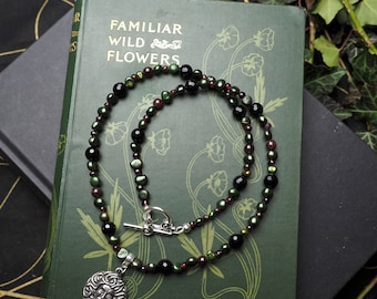 Medusa Ritual Necklace - Garnet, Pearl & Onyx, Greek Serpent Goddess, Snakes, Pagan, Witchcraft