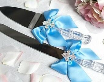 Crystal Fleur de Lis Ribbon Cake Server Set with Custom Colors - Custom Engraving Available - 550301