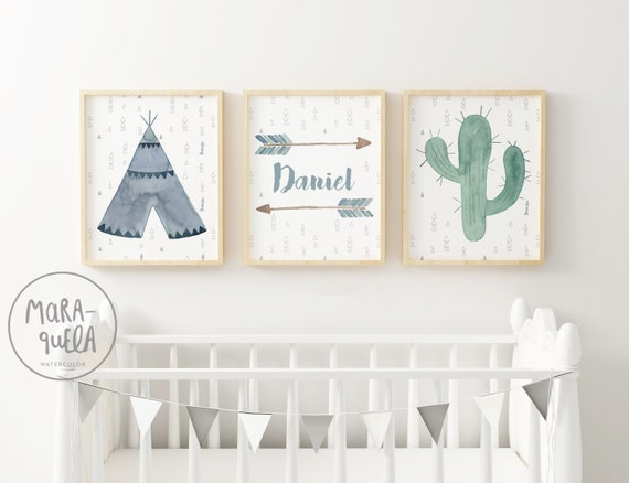 Set motivos indios, Azul y verde / Watercolor Tepee SET - Blue and Green
