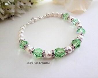 August Birthstone Jewelry Swarovski Crystal Peridot Bracelet Green Birthstone August Birthstone Bracelet August Birthday Gift For Mother Day