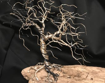 Wind blown Wire Weeping Willow Tree sculpture mounted on driftwood collected off Coastal Maine beaches