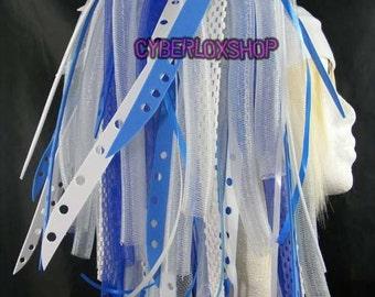 Cyberlox Dread Goth Blue White BlueBleach Hair Falls