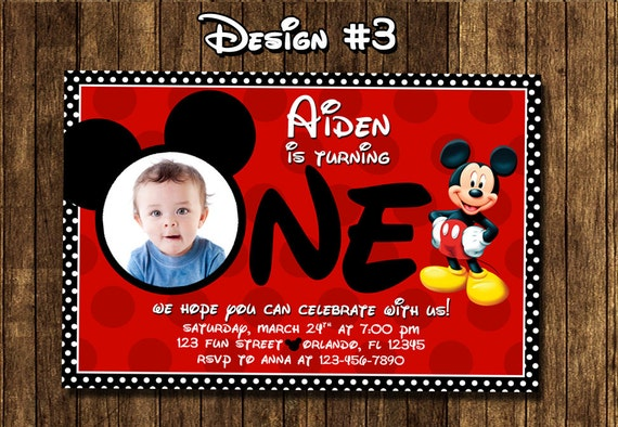 Mickey mouse baby boy 1 1st first birthday party photo mickey mouse baby boy 1 1st first birthday party photo invitations printable filmwisefo Images
