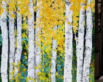Aspen Birch Trees Large Extra Large Original  Painting  48 x 60 x 1.25 Gallery Canvas Custom Commission Ships in 10 - 15 business days