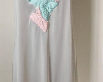 Vintage 1960s RARE Yolande Ivory & Pastel Nighty Nightgown - small