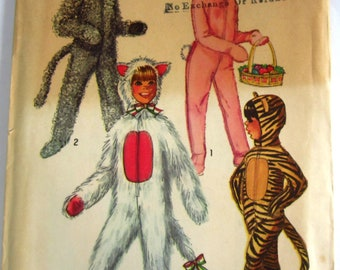 Easy Sew Childs Animal Costumes with Detachable Head Piece Size 2 Vintage 1970s Simplicity Pattern 9050 UNCUT