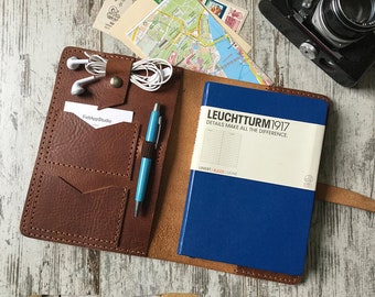 Personalized Journal Cover Leather Portfolio Travelers Notebook Cover A5 notebook Cover Moleskine and Leuchtturm1917 Cover Groosmen Gift